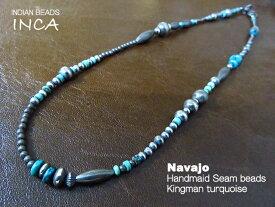 インディアンジュエリー キングマンターコイズ ビーズ ネックレス シルバー925 チェーン ナバホ INCA