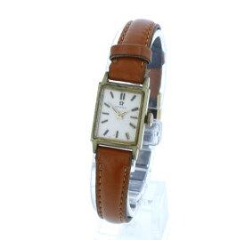 オメガ ゴールド メッキ レザー 腕時計 レディース OMEGA 手巻き ゴールド文字盤 【中古】
