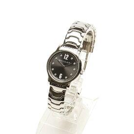 ブルガリ ソロテンポ 10Pダイヤ シルバー ステンレススチール 腕時計 レディース BVLGARI クオーツ ブラック文字盤 【中古】