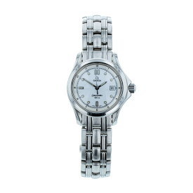 オメガ シーマスター 2501.20 シルバー ステンレススチール メッキ 腕時計 レディース OMEGA クオーツ ホワイト文字盤 【中古】