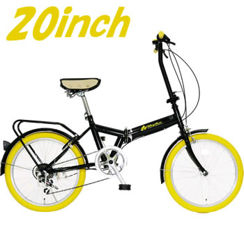 FD1B-206-YE 美和商事 Rhythm(リズム) 20インチ折畳自転車 6段変速 イエロー【smtb-k】【ky】【KK9N0D18P】