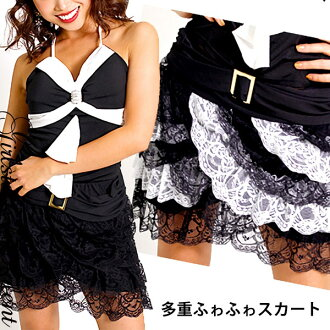 ◆It is ティアードミニスカート of the race correspondence ◆ angrily! Gold buckle ☆ atmosphere volume is a record high! Waist rubber