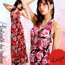 ◆あす楽対応◆【Lサイズ】バラ薔薇ローズ★胸から広がる大人気フレア★ひし形ダイヤバックル体型カバー/大きいサイズ…