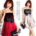 ◆あす楽対応◆パーティドレスはバルーンで★薔薇レースとリボン★ふんわりシルエットで着痩せ!おしゃれワンピ♪大き…