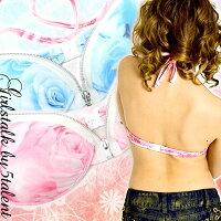 魅せ系ハードなジッパー★かっちりキープ★薔薇柄が美しいハードタイプのホルターブラトップス♪見せブラ/ドレスinにも♪