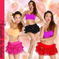 キラキラ舞台衣装【ダンス】超ミニパニエとしても使える☆発表会でも目立つ!ミニスカート♪スカパンです♪大きいサイズOK【スカート/パニエ/コスチューム/ダンス】