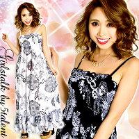 【モノクロ浪漫マキシ】普段もパーティもおまかせ☆2カラバリ★裾2段フリルのロングドレス/大きいサイズOK