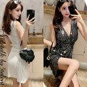 ◆あす楽即納◆キラキラミラーラメ★タイトで細魅せドレープ★ミニナイトドレス【キャバドレス ワンピース ナイトドレ…