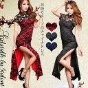 ◆あす楽即納◆薔薇柄レースとのコンビネーションが美しい チャイナドレス ロング ハイスリット 制服 おすすめ コスチューム【チャイナドレス ロングドレス 結婚式 キャバ キャバクラ ドレス dress