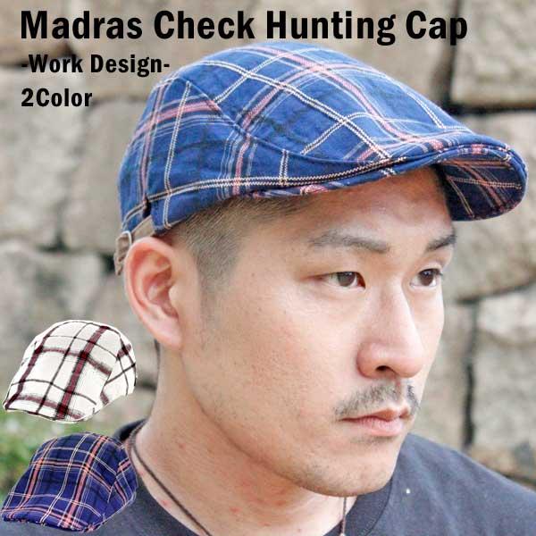 ハンチング マドラスチェック デザイン ハンチングキャップ 帽子 メンズ レディース 白 ネイビー【Autumnセール開催中 全品ポイント2倍 割引クーポン発行】