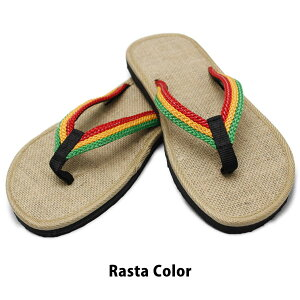 ラスタカラーサンダルビーチサンダルジュートヘンプしっかりソール海夏痛くない外履きOKサンダルナチュラルヘンプアジアンエスニックSANDALレゲエジャマイカ