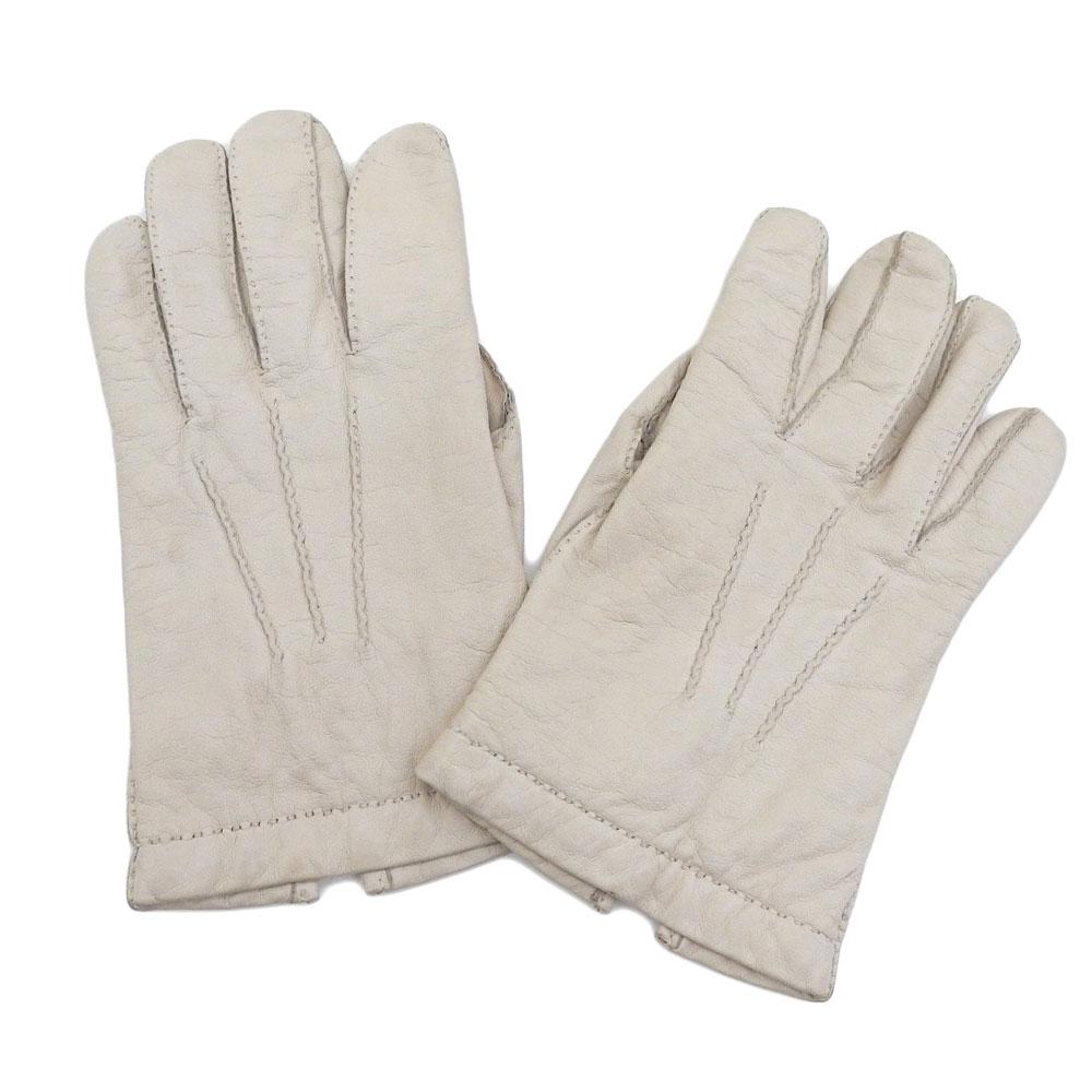 新着【中古】美品 エルメス HERMES 70年代フランス製ヴィンテージ ディアスキン カシミア100% レザー グローブ 手袋 8 1/2
