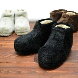 メンズ ボア ブーツ ルームシューズ 大きい サイズ あったか ふわふわ もこもこ シープ調ボア 靴 寒さ対策 冷え対策 足首 ブラウン グレー ブラック