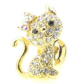 【 お買い物マラソン 10%OFF 】 【 送料無料 】 ピンブローチ ピンバッジ スーツ 猫 ネコ ねこ cat スワロフスキー ゴールド メンズ レディース かわいい ギフト プレゼント