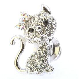 【 お買い物マラソン 10%OFF 】 【 送料無料 】 ピンブローチ ピンバッジ スーツ 猫 ネコ ねこ cat スワロフスキー シルバー メンズ レディース かわいい ギフト プレゼント