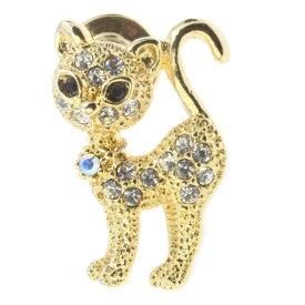 【 送料無料 】 ピンブローチ ピンバッジ スーツ 猫 ネコ ねこ cat 背が高い スワロフスキー ゴールド シルバー メンズ レディース かわいい ギフト プレゼント