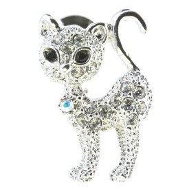 【 お買い物マラソン 10%OFF 】 【 送料無料 】 ピンブローチ ピンバッジ スーツ 猫 ネコ ねこ cat 背が高い スワロフスキー シルバー メンズ レディース かわいい ギフト プレゼント
