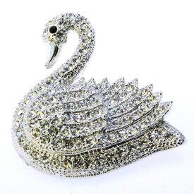 タイムセールC 55%OFF 全品 送料無料 バレエアクセサリー ブローチ フォーマル スワロフスキー 結婚式 パーティー 白鳥 スワン バレエ 鳥 シルバー コサージュ 女性 贈答品 クリスマス