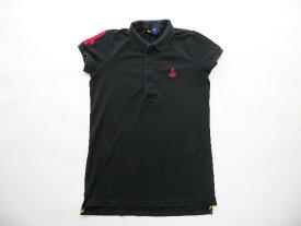 ■ラルフローレンラグビー鹿の子半袖ポロシャツ黒(L)スカル女性■返品不可■