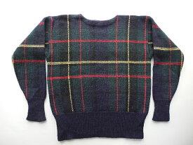 ■ラルフローレンチェックウールニットセーター(XL)ボートネック■返品不可■