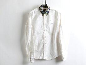 ■POLOラルフローレンラグビーRUGBYボタンダウン 襟切替コットンシャツ(女性 4 S程)スカル刺繍