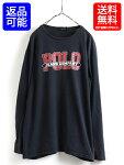 人気の黒■ラルフローレンPOLOJEANSCOポロジーンズカンパニービッグロゴプリント長袖Tシャツ(メンズ男性L)古着ラルフロンT