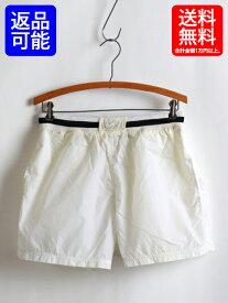 90s ■ NIKE ナイキ スウッシュ刺繍 リブライン入 ナイロン ショーツ (メンズ 男性 M) ショートパンツ 90年代 古着 スポーツ ウエア