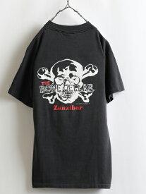 90s USA製 人気 黒■ ONEITA オニータ THE BONE CELLAR Zanzibar スカル 両面プリント 半袖 Tシャツ(メンズ 男性 M) 古着 クロスボーン