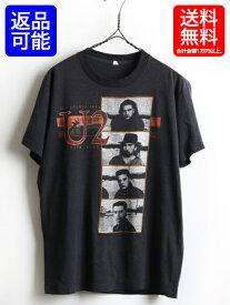 80's カナダ製 ビンテージ ■ U2 JOSHUA TREE 1987年 ツアー 両面 プリント 半袖 Tシャツ ( メンズ 男性 L ) 古着 バンドT ロックT 黒 ボノ| 【USA古着】 80年代 バンドTシャツ ロックTシャツ ツアーTシャツ プリントTシャツ ブラック SCREEN STARS スクリーンスターズ 1987