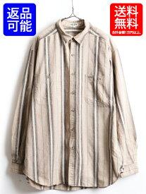 90's USA製 大きいサイズ XL ■ ゲス ジーンズ GUESS JEANS ポケット付き コットン マルチストライプ 長袖 シャツ ( 男性 メンズ ) 古着| 【USA古着】【古着】中古 アメリカ製 長袖シャツ ワンポイント 刺繍 ロゴ ビッグシルエット 総柄 柄シャツ ストライプシャツ 90年代