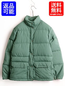 Reproduction tea tag ■ North Face full zip down jacket (woman lady's M) old clothes The North Face 90s jacket | made in 90's USA Down jacket outer outdoor plain fabric green zip up high neck stand-up collar blouson made in the used United States is green