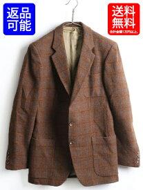 80's フランス製 ■ カルバンクライン Calvin Klein チェック ウール テーラード ジャケット ( メンズ 男性 M 程) 古着 ツイード ブレザー| 【USA古着】中古 テーラードジャケット ツイードジャケット ウールジャケット 80年代 ビンテージ 茶 ブラウン 3ポケット ライナー付