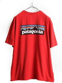 大きいサイズ XL USA製 ■ パタゴニア オーガニック コットン フィッツロイ ビッグ ロゴ プリント 半袖 Tシャツ ( メンズ ) 古着 PATAGONIA| 【USA古着】 中古 プリントTシャツ ロゴTシャツ ボックスロゴ 半袖Tシャツ クルーネック 男性 レッド 赤 アメリカ製 アウトドア