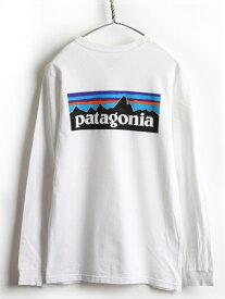 希少サイズ S ■ パタゴニア フィッツロイ ビッグ ロゴ プリント 長袖 Tシャツ ( 男性 メンズ ) 古着 ロンT ロゴT プリントT 白 Patagonia| 【US古着】中古 インナー プリントTシャツ ロゴTシャツ 長袖Tシャツ ロングTシャツ クルーネック ホワイト ボックスロゴ ビッグロゴ