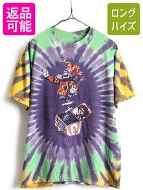 90's ■ 93年製 グレイトフルデッド タイダイ 両面 ビッグ プリント 半袖 Tシャツ ( メンズ L 程) 古着 スカル ローズ バンドT びっくり箱| 【USA古着】中古 プリントT プリントTシャツ バンドTシャツ 半袖Tシャツ ロックTシャツ 90年代 JACK IN THE BOX オフィシャル バンT