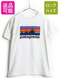 14年製 ■ パタゴニア オーガニック コットン フィッツロイ ロゴ プリント 半袖 Tシャツ ( メンズ M ) 古着 Patagonia ロゴT プリントT 白T| 中古 クルーネック プリントTシャツ ロゴTシャツ 白Tシャツ サンセットロゴ 男性 Men's Sunset Logo T-Shirt オーガニックコットン