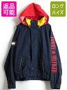 90s ■ トミーヒルフィガー 袖刺繍 収納フード フルジップ ナイロン セーリング ジャケット ( メンズ 男性 L ) 古着 90年代 TOMMY HILFIGER| 中古 90年代 セーリングジ