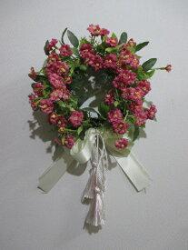 小花のプチフラワーリース(レッド)af140【大人カワイイ】【新生活】【ラグジュアリー】【RCP】