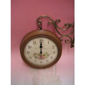 レトロローズハンギング時計wa164br【両面時計】【ブラウン】【ウォールクロック】【送料無料】