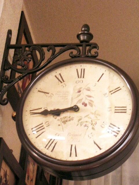 両面時計 掛け時計 ブラケット時計 ブラック ブラウン 黒 クラシック回転時計wa13【送料無料】【大人カワイイ】【0831otoku-f】【新生活】【ラグジュアリー】【RCP】