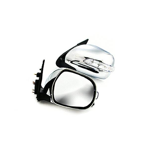 ハイエース200系 LEDウィンカーミラー 格納ミラー ドアミラー ウインカーミラー 電動格納 憧れのスーパーGL純正風メッキ電格ドアミラー メッキドアミラー ダブルLEDウィンカー フットライト付 電動格納式