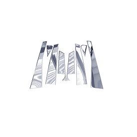アルファード20系/ヴェルファイア20系 全8P set メッキピラー ステンレス鏡面 メッキピラー ステンレスピラー サイドピラー サイドモール ピラーガーニッシュ モール メッキ