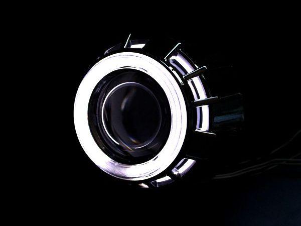 【送料無料】 CCFLダブルリング付き HID プロジェクターヘッドライト 埋め込み型 H4 H7 白×白 ホワイト×ホワイト 2色発光 CCFLリング イカリング 【HIDキット LED フォグランプとの相性抜群 HID バーナー ヘッドランプ】