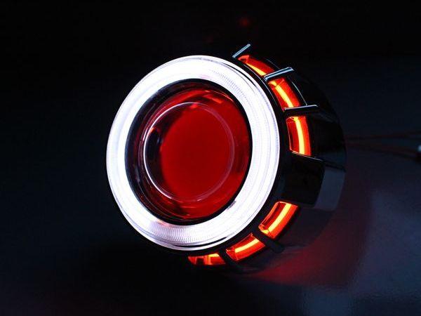【送料無料】 CCFLダブルリング付き HID プロジェクターヘッドライト 埋め込み型 H4 H7 白×赤 ホワイト×レッド 2色発光 CCFLリング イカリング 【HIDキット LED フォグランプとの相性抜群 HID バーナー ヘッドランプ】