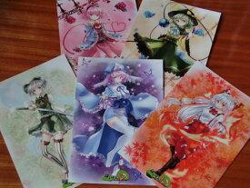 東方project「妹紅3,妖夢4,幽々子3,さとり3,こいし3」ポストカード5枚セット -ぱいそんきっど-