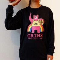 バスケットボール長袖Tシャツ「グリンベア:ピンクま!」バスケロンTバスケウェアバスケットボールウェアミニバスジュニアグリンファクトリー