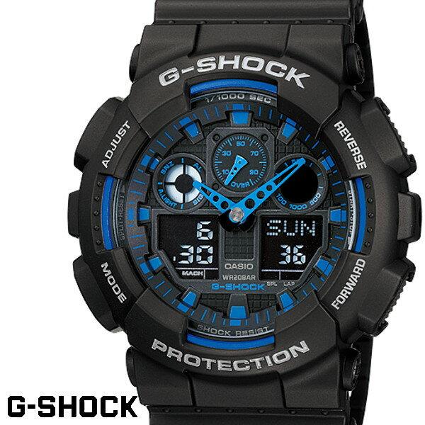 G-SHOCK カシオ Gショック GA-100-1A2 ブラック ブルー CASIO G−SHOCK ジーショック 腕時計 アナデジ うでどけい
