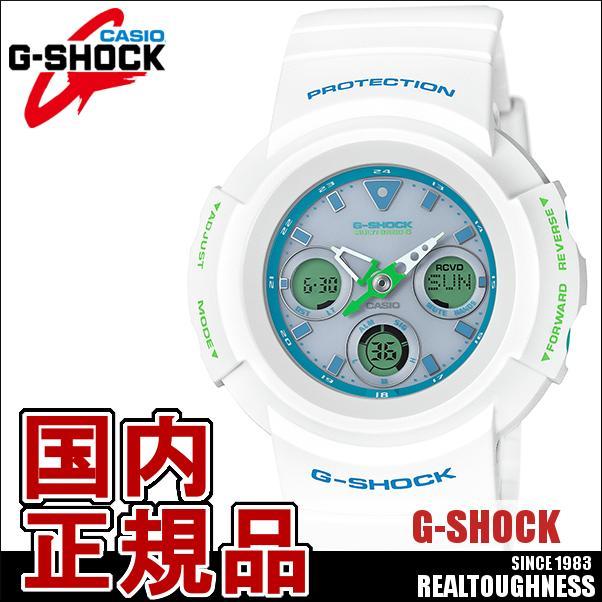 CASIO G-SHOCK ジーショック メンズ 腕時計 AWG-M510SWG-7AJF スポーティミックスデザイン 電波 ソーラー 白 ホワイト 青 ブルー ターコイズ アナデジ