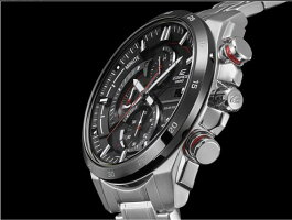 【CASIOEDIFICE】タフソーラー搭載カシオエディフィスメンズうでどけい腕時計エディフィスmen'sレザーベルトステンレスクロノグラフブラックシルバー100m防水