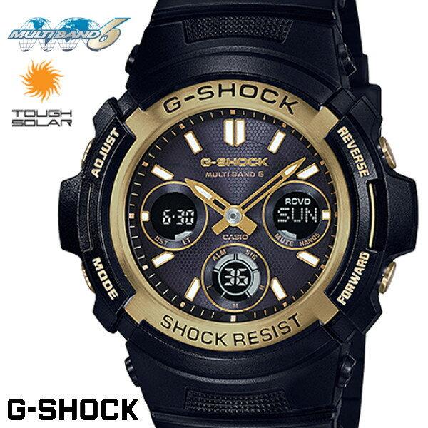CASIO G-SHOCK ジーショック 電波ソーラー 黒 ブラック ゴールド デジタル アナログ ブランド メンズ 腕時計 AWG-M100SBG-1A G−SHOCK